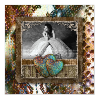Quinceanera Grad Sweet 16 Vintage Snakeskin Photo Card