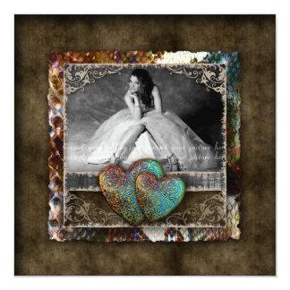 Quinceanera Grad Sweet 16 Vintage Suede Photo 13 Cm X 13 Cm Square Invitation Card