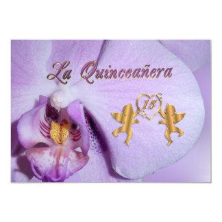 Quinceanera invitation 15th Birthday orchid