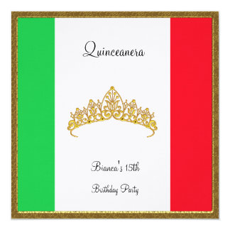 Quinceanera Invitation Mexico Flag