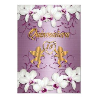 Quinceanera Invitation satin white orchids