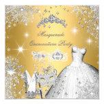 Quinceanera Masquerade Magical Princess Gold 13 Cm X 13 Cm Square Invitation Card
