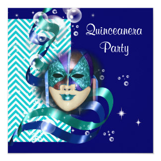 Quinceanera masquerade mask PERSONALIZE Card