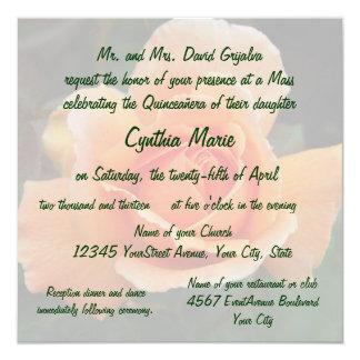 Quinceanera Orange Rose Birthday 13 Cm X 13 Cm Square Invitation Card