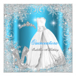 Quinceanera Party Blue Silver Winter Snowflakes Personalised Announcements
