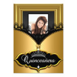 Quinceanera Party Gold Black Lace Girl Photo