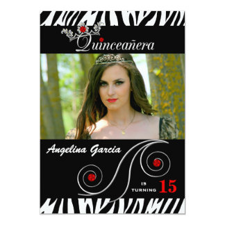 Quinceanera Party Invite in Red and Zebra Print