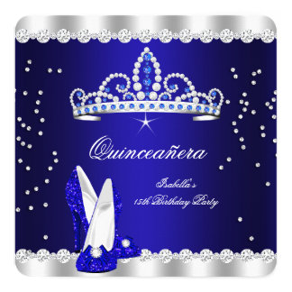 Quinceanera Party Royal Blue Tiara Diamonds Heels Card