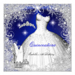 Quinceanera Party Royal Blue Winter Snowflakes