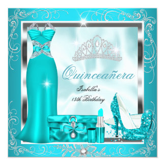 Quinceanera Party Teal Blue Silver Snowflakes S4 13 Cm X 13 Cm Square Invitation Card