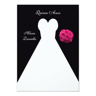 Quinceanera Party White Gown and Pink Rose Bouquet 13 Cm X 18 Cm Invitation Card