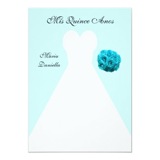 Quinceanera Party White Gown on Blue Background 13 Cm X 18 Cm Invitation Card