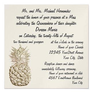 Quinceanera Pineapple Gold Metallic 13 Cm X 13 Cm Square Invitation Card