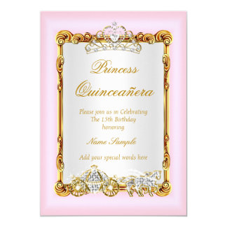 Quinceanera Pink Gold Horse Carriage Fairytale Card