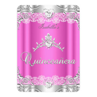 Quinceanera Pink Silver Diamond Tiara 15th Party 11 Cm X 16 Cm Invitation Card