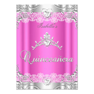 Quinceanera Pink Silver Diamond Tiara 15th Party 4.5x6.25 Paper Invitation Card