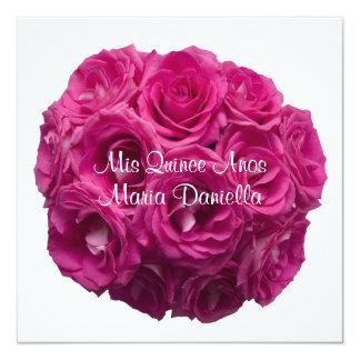 Quinceanera Pretty Pink Roses on White 13 Cm X 13 Cm Square Invitation Card