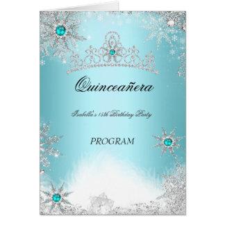 Quinceanera Program Teal Aqua Cobalt Blue Card