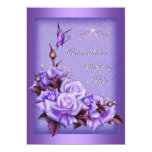 Quinceanera Purple Roses Butterfly Floral 2a 13 Cm X 18 Cm Invitation Card