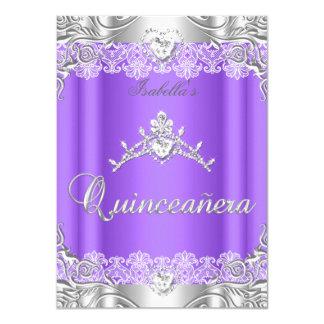 Quinceanera Purple Silver Diamond Tiara 15th Party 11 Cm X 16 Cm Invitation Card