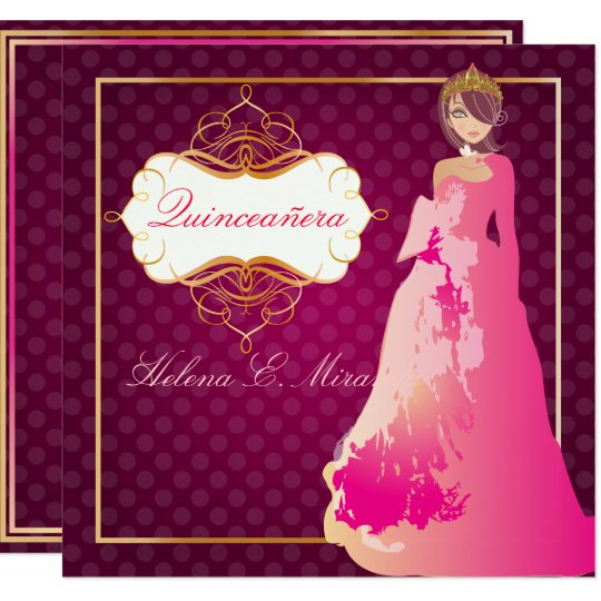 QUINCEANERA/QUINCE ANOS PRINCESS/DIY colour 13 Cm X 13 Cm Square Invitation Card