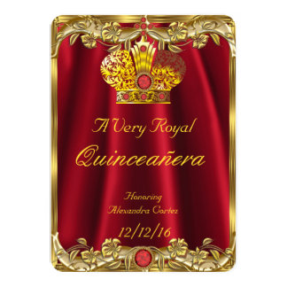 Quinceanera Royal Red Gem Gold Princess Crown 2 11 Cm X 16 Cm Invitation Card