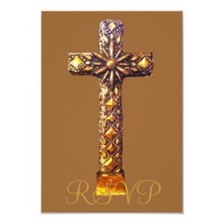 Quinceanera RSVP 15th Birthday Gold Cross 9 Cm X 13 Cm Invitation Card