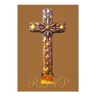Quinceanera RSVP 15th Birthday Gold Cross Custom Invites