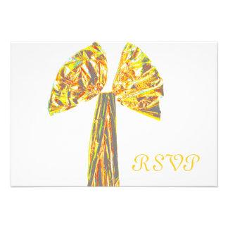 Quinceanera RSVP Formal Gold Ribbon Custom Invites