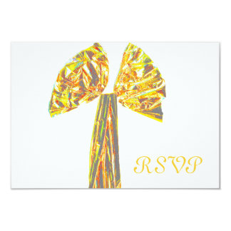 Quinceanera RSVP Formal Gold Ribbon 9 Cm X 13 Cm Invitation Card