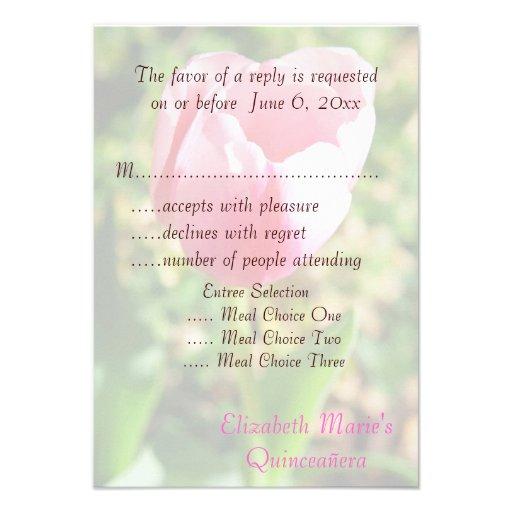 Quinceanera RSVP Pink Tulip 15th Birthday Custom Invites