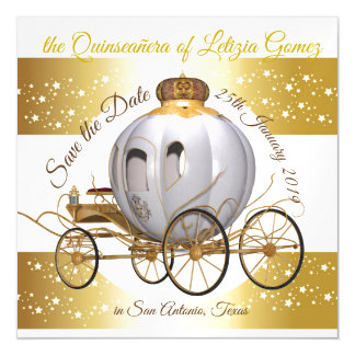 Quinceanera Save the Date Gold Princess Carriage Magnetic Card