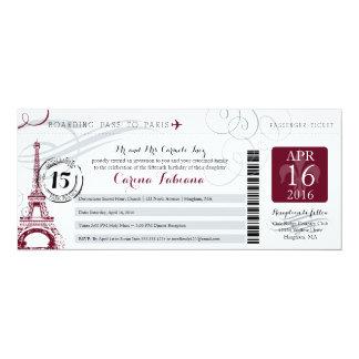 Quinceanera Silver Gray and Burgundy | Paris 10 Cm X 24 Cm Invitation Card
