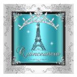 Quinceanera Teal Blue Silver Tiara Eiffel Tower Invite