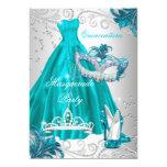 Quinceanera Teal Mask Silver Dress Masquerade Blue 13 Cm X 18 Cm Invitation Card