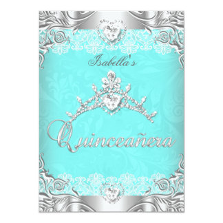 Quinceanera Teal Silver Diamond Tiara 15th Party Custom Invitations
