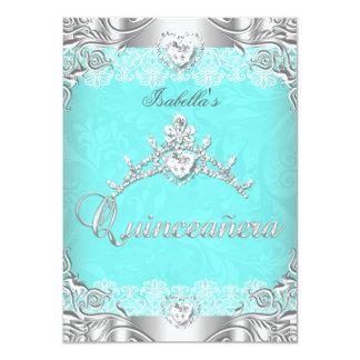 Quinceanera Teal Silver Diamond Tiara 15th Party Custom Invitations