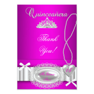 """Quinceanera thank you Hot Pink Lace 3.5"""" X 5"""" Invitation Card"""