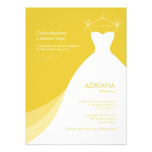 Quinceañera Vestido amarillo Invitaciones Personalized Announcements