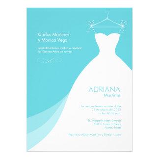 Quinceañera Vestido Azul Invitaciones Custom Invites