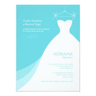 """Quinceañera Vestido Azul Invitaciones 5.5"""" X 7.5"""" Invitation Card"""