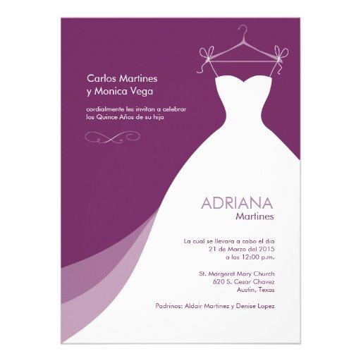 Quinceañera Vestido Púrpura Invitaciones Personalized Invitation