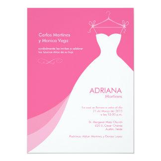 Quinceañera Vestido rosado Invitaciones Personalized Invitation