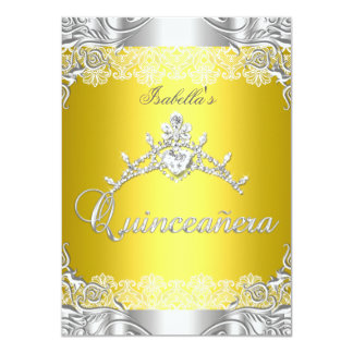 Quinceanera Yellow Silver Diamond Tiara 15th Party 4.5x6.25 Paper Invitation Card