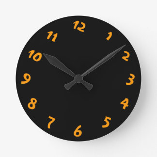 Quirky Black and Orange Design Wallclock