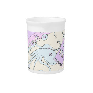 Quirky Octopus/Train Collage Drink Pitchers