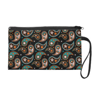 Quirky Paisley Turquoise and Orange Wristlet Purse