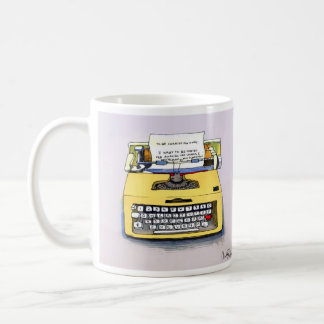 Quirky Yellow Typewriter Basic White Mug