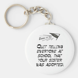 Quit telling everyone basic round button key ring
