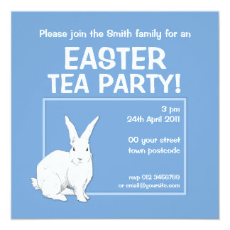 Rabbit blue Easter Invitation